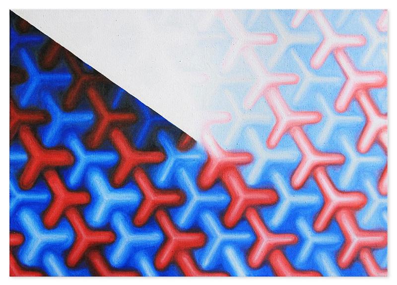 Tricolor wire gradient – oil on canvas, 85x60 cm